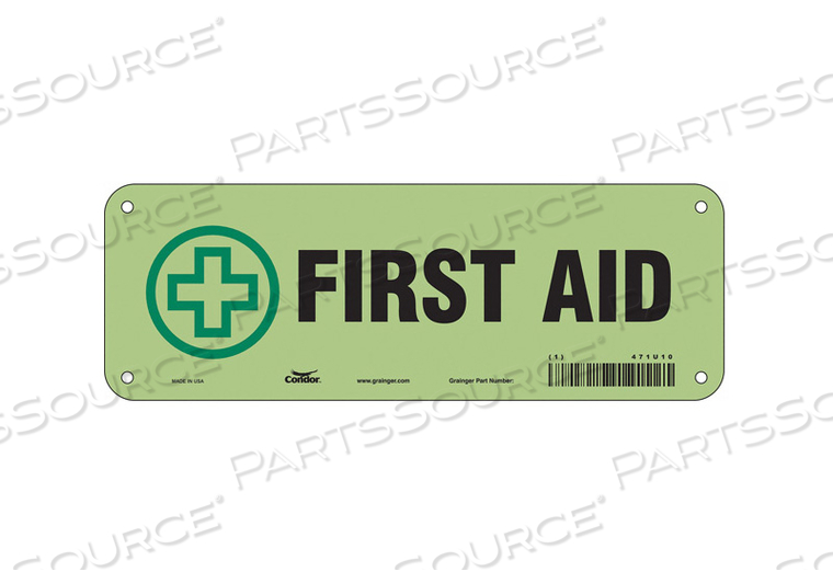 FIRST AID SIGN 10 WX3-1/2 H 0.070 THICK by Condor
