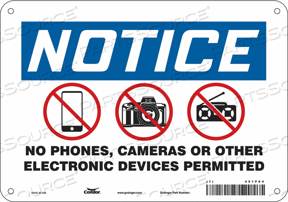 SIGN CELL PHONE 10 W 7 H 0.032 THICK by Condor