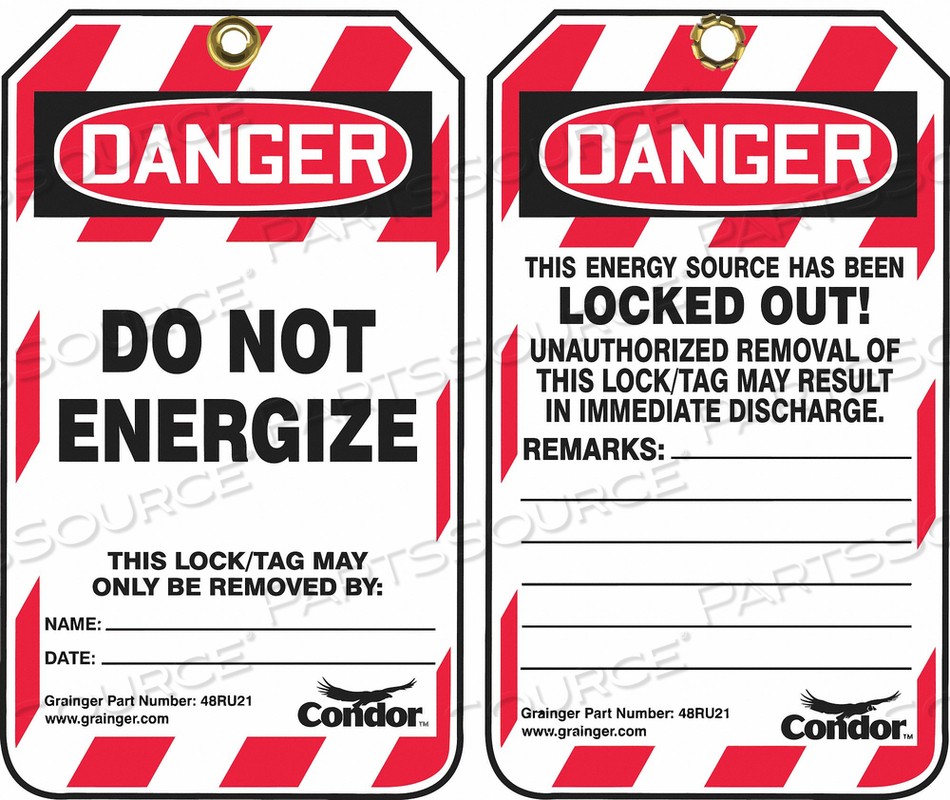 LOCKOUT TAG 3-1/4 IN.WX5-3/4IN.H PK100 by Condor