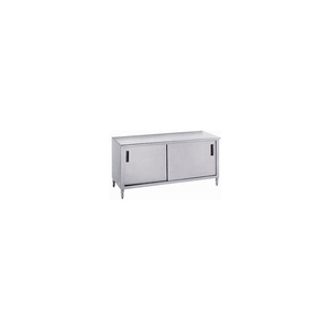 14 GA. WORK TABLE CABINET 304 STAINLESS STEEL - SLIDE DOORS 1 SHELF 96X30 by Advance Tabco