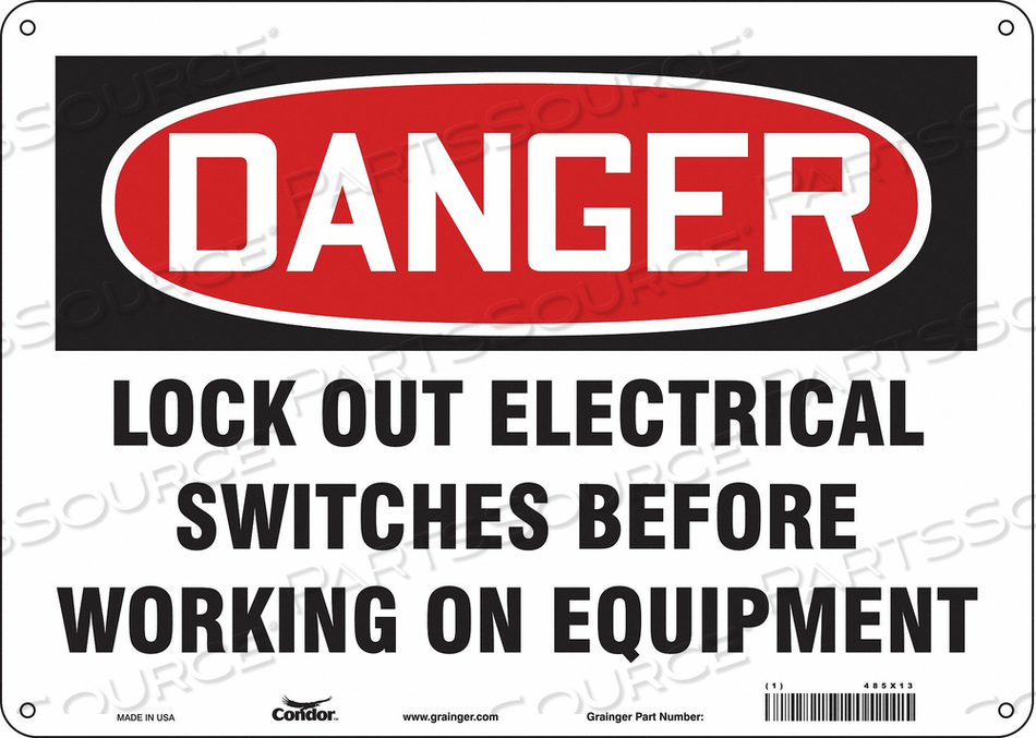 LOCKOUT SIGN 14 W 10 H 0.055 THICKNESS by Condor