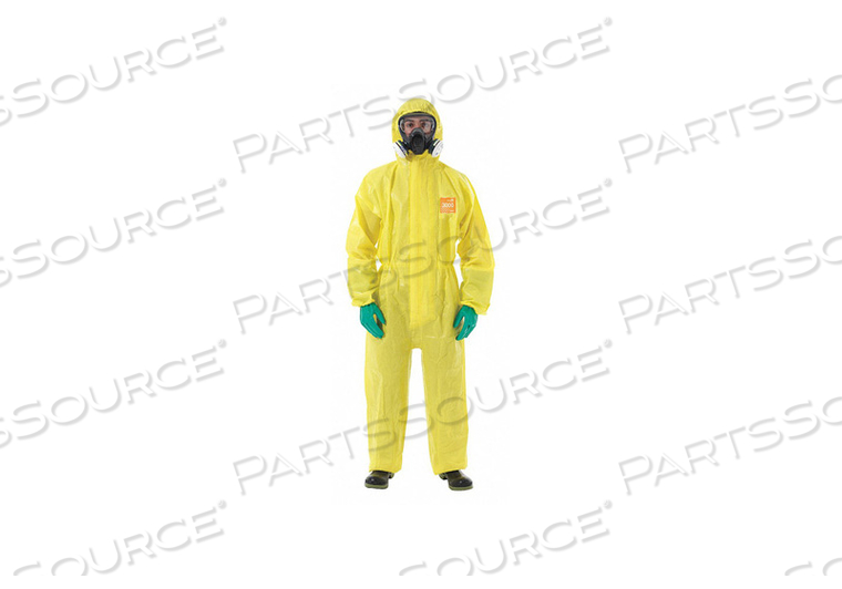 HOODED COVERALL ELASTIC YELLOW XL PK6 by Ansell Healthcare