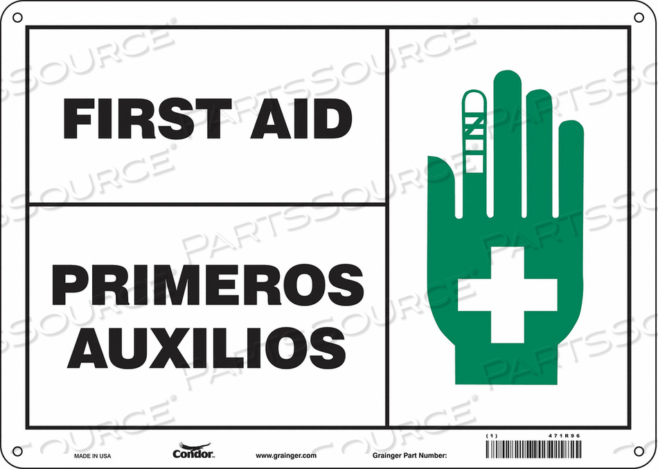 FIRST AID SIGN 14 WX10 H 0.004 THICK by Condor