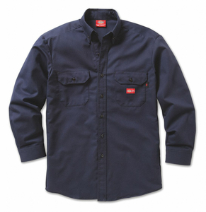 FR BUTTON DOWN WORK SHIRT L NAVY by Dickies