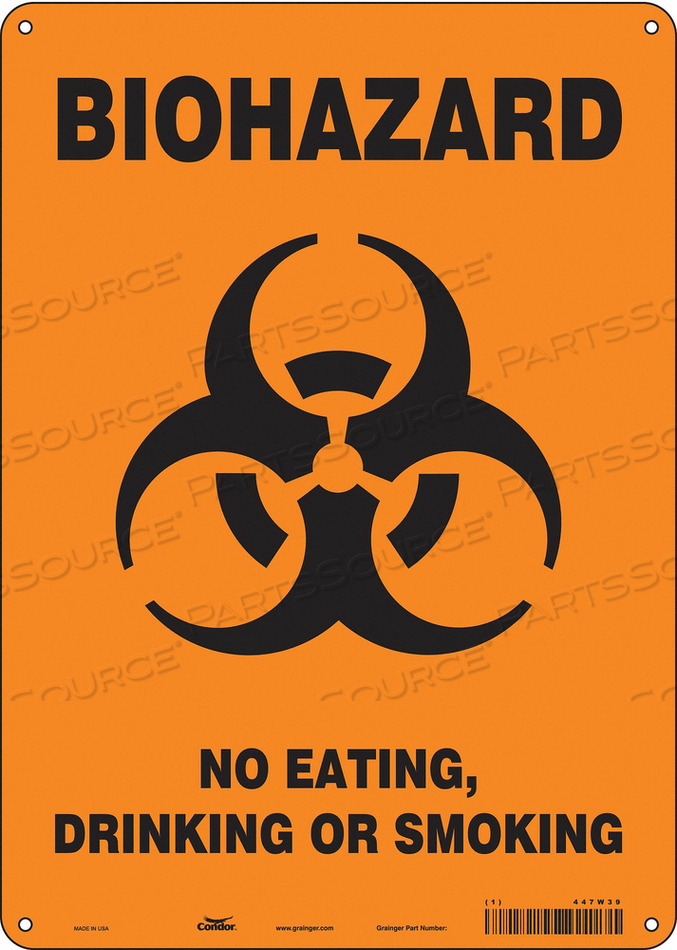 BIOHAZARD SIGN 10 W 14 H 0.055 THICK by Condor