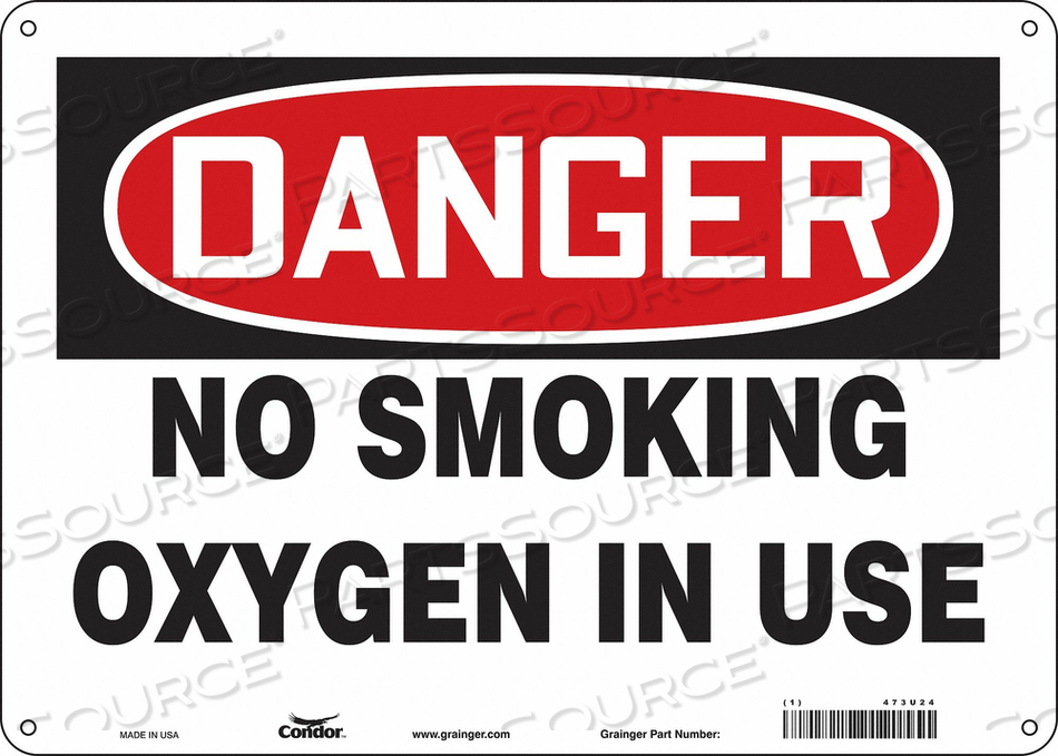 NO SMOKING SIGN 14 WX10 H 0.060 THICK by Condor