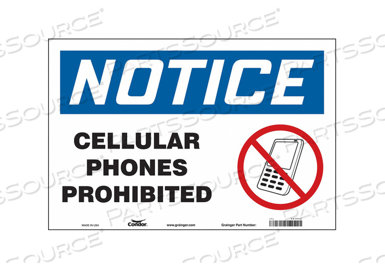 SIGN CELL PHONE 18 W 12 H 0.004 THICK by Condor
