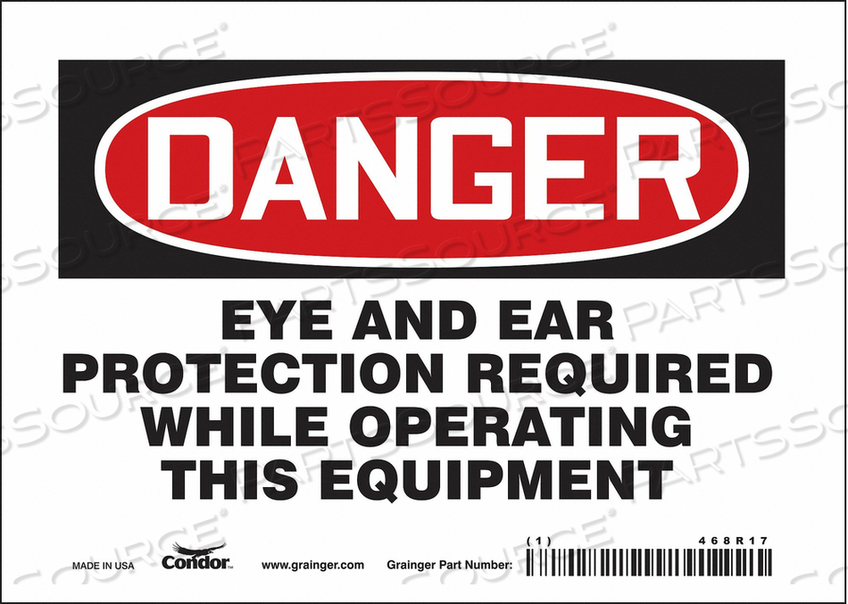 SAFETY SIGN 7 WX5 H 0.004 THICKNESS by Condor