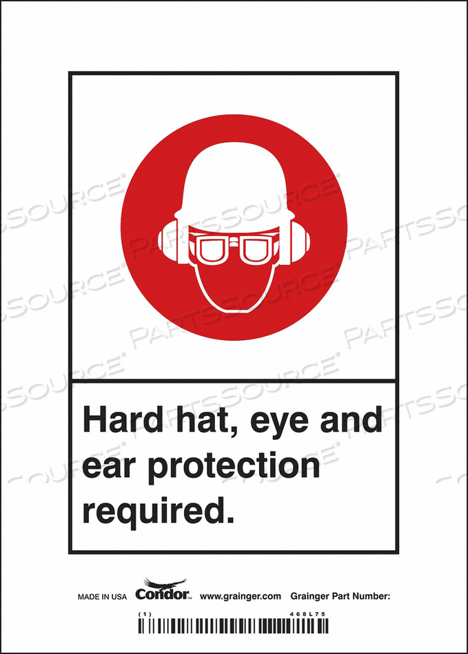 SAFETY SIGN 5 WX7 H 0.004 THICKNESS by Condor