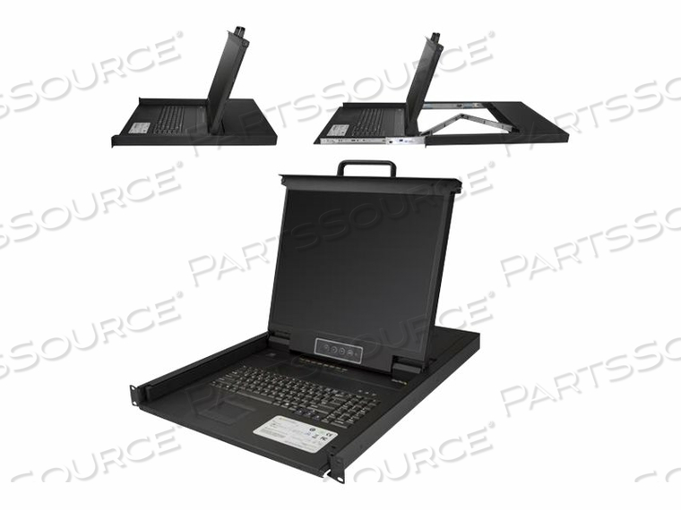 "STARTECH.COM 8-PORT RACKMOUNT KVM CONSOLE FOR SERVER RACK - 19 IN. - 1U - KVM CONSOLE WITH KVM SWITCH - 8 PORTS - PS/2, USB - 19"" - RACK-MOUNTABLE - 1280 X 1024 - 250 CD/M² - 1000:1 - VGA - BLACK - 1U by StarTech.com Ltd."