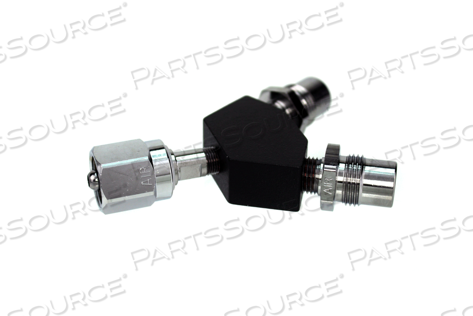 DISS Y-BLOCK, HEX NUT FEMALE INLET X DISS MALE OUTLETS, MED AIR