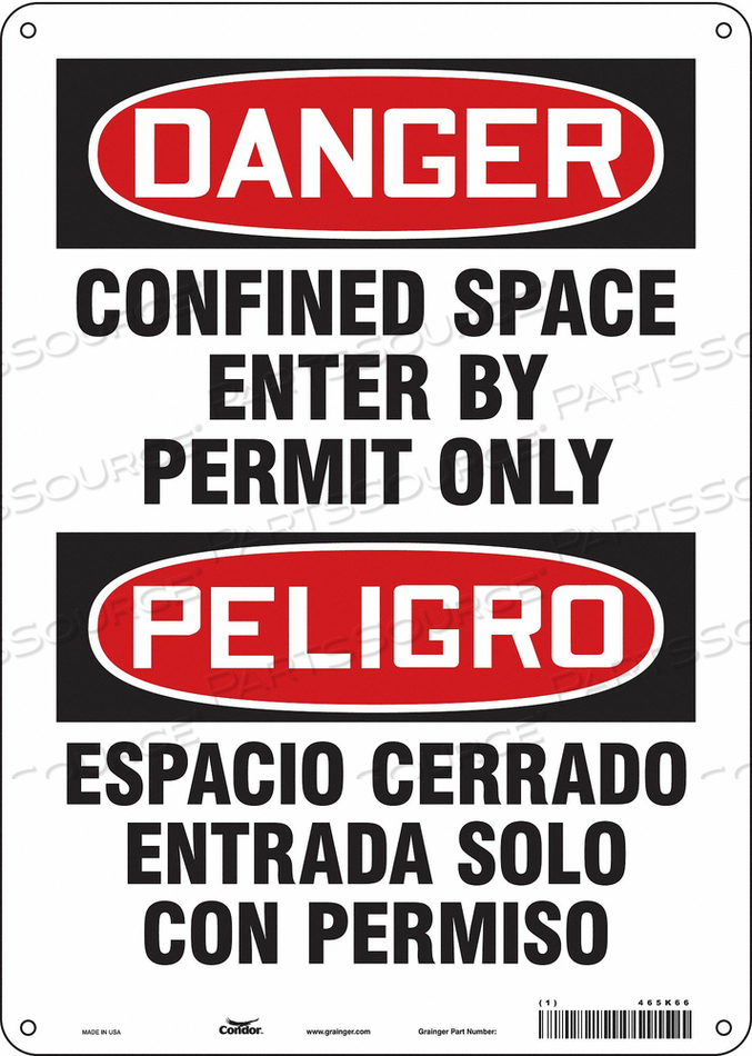 J6917 SAFETY SIGN 14 H 10 W PLASTIC by Condor