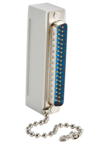 """DUMMY PLUG FOR HILL-ROM, 37-PIN, WITH INSERTION GUIDE ARROW AND 2-1/4"""" CONNECTING CHAIN by Crest Healthcare"""