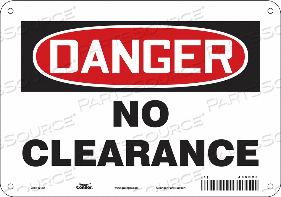 SAFETY SIGN 10 WX7 H 0.060 THICK by Condor