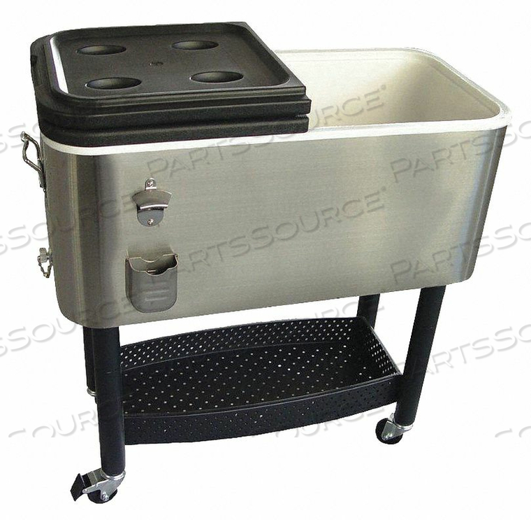 COOLER 17 GAL SS/PLASTIC GRAY/BLACK by Crestware