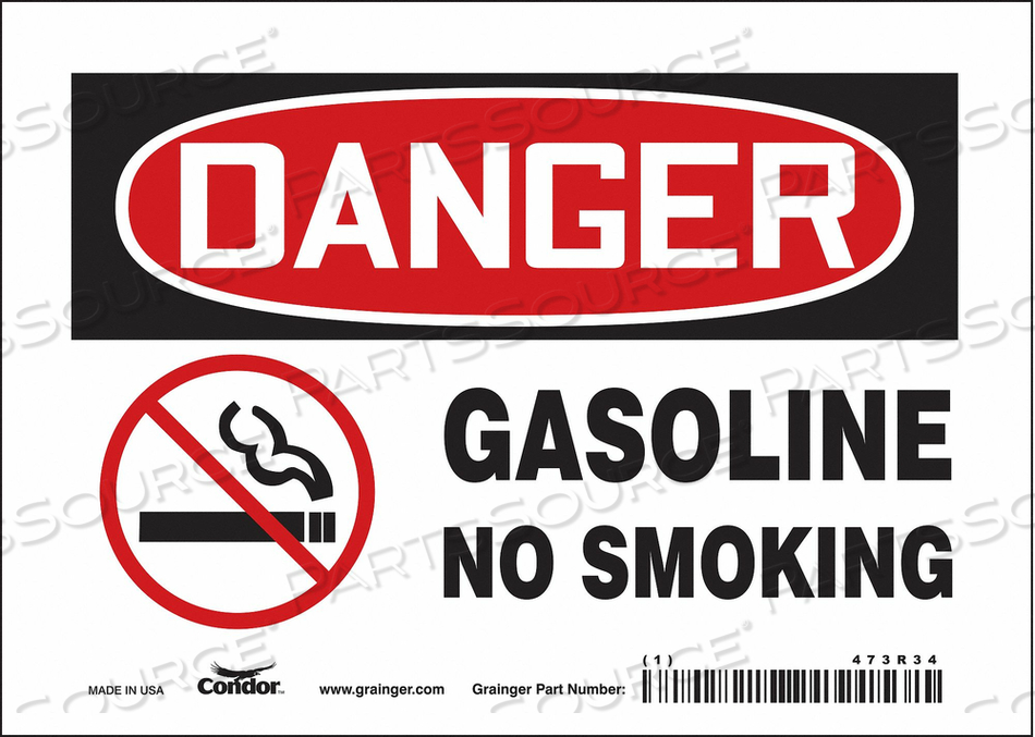 NO SMOKING SIGN 7 WX5 H 0.004 THICK by Condor