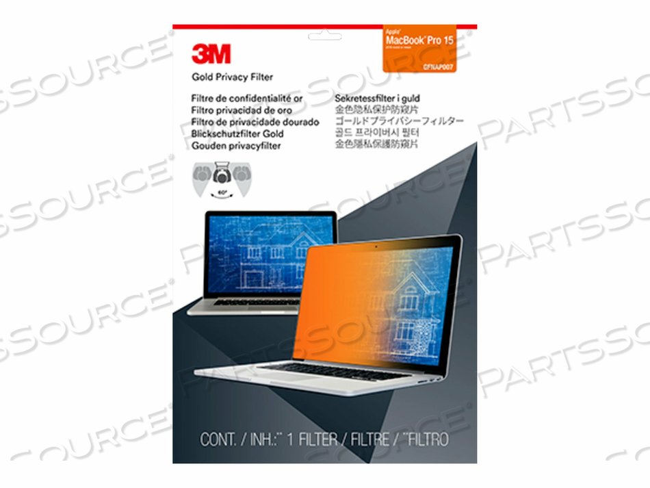 """3M GOLD PRIVACY FILTER FOR 15"""" APPLE MACBOOK PRO - NOTEBOOK PRIVACY FILTER - 16"""" - GOLD - FOR APPLE MACBOOK PRO WITH TOUCH BAR (15.4 IN) by 3M Consumer"""