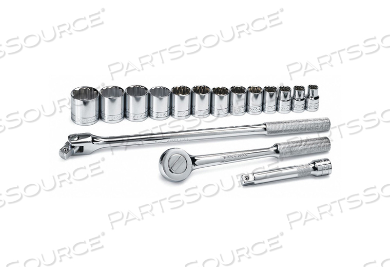 SOCKET WRENCH SET SAE 1/2 IN DR 16 PC by SK Professional Tools