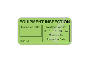 SELF-LAMINATING LABEL, EQUIPMENT CHECKED, SYNTHETIC PAPER, LIGHT GREEN, 2 IN X 1 IN by United Ad Label