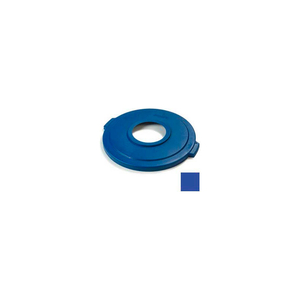 """BRONCO ROUND RECYCLE LID W/8"""" HOLE 32 GALLON, BLUE by Carlisle"""