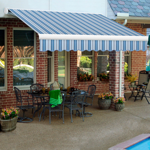 """RETRACTABLE AWNING RIGHT MOTOR 24'W X 10'D X 10""""H BLUE by Awntech"""