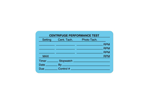 CALIBRATION LABEL, 3 IN X 1-5/8 IN, CENTRIFUGE PERFORMANCE TEST, EDP PAPER, LIGHT BLUE, ENGLISH, -65 TO 200 DEG F by United Ad Label