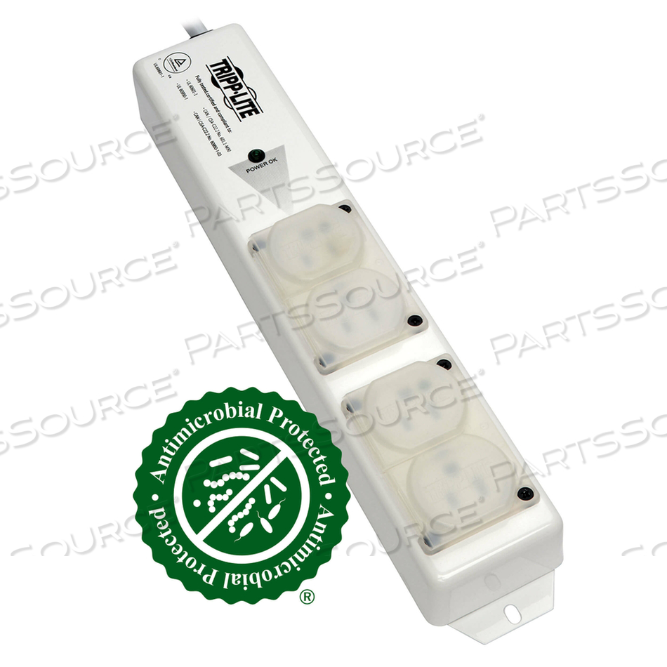 POWER STRIP MEDICAL HOSPITAL GRADE UL 60601-1  4 OUTLET 6' CORD by Tripp Lite