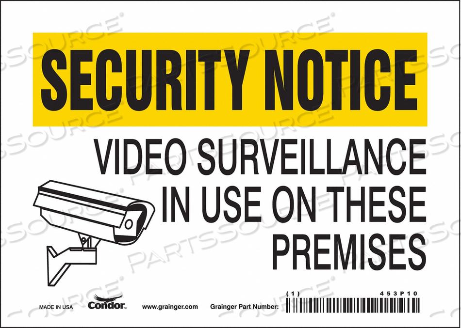J7031 SECURITY SIGN 5 H 7 W VINYL by Condor