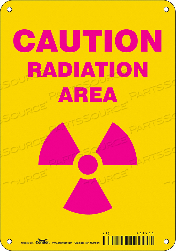 J7007 RADIATION SAFETY SIGN ALUMINUM 10 H by Condor