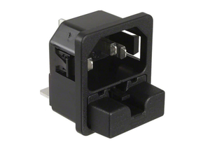 PLUG RECEPTACLE AC POWER ENTRY MODULE, 250 VAC, 10 A, PANEL, SNAP MOUNTING, 3 POSITIONS, QUICK CONNECT TERMINATION, MEETS CCC, CSA, ENEC, UL by Schurter