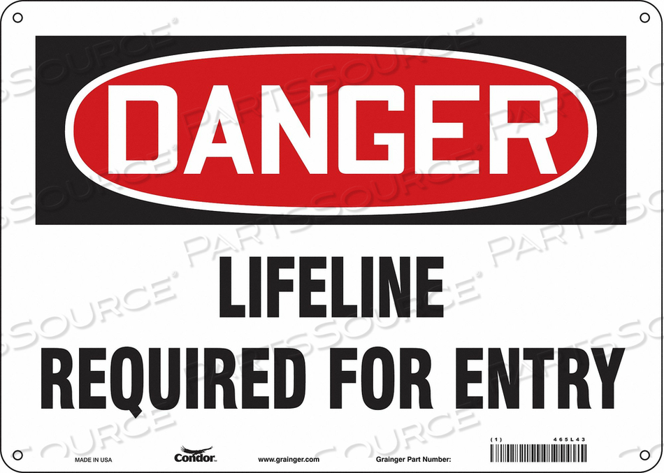 SAFETY SIGN 10 H 14 W FIBERGLASS by Condor