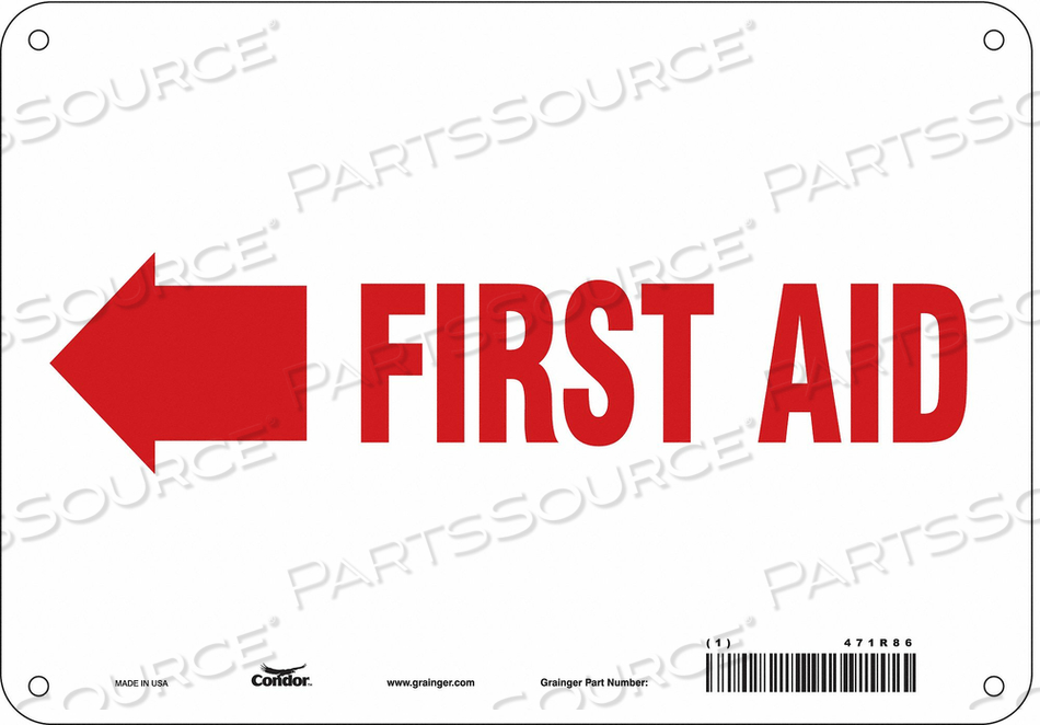 FIRST AID SIGN 10 W X 7 H 0.055 THICK by Condor