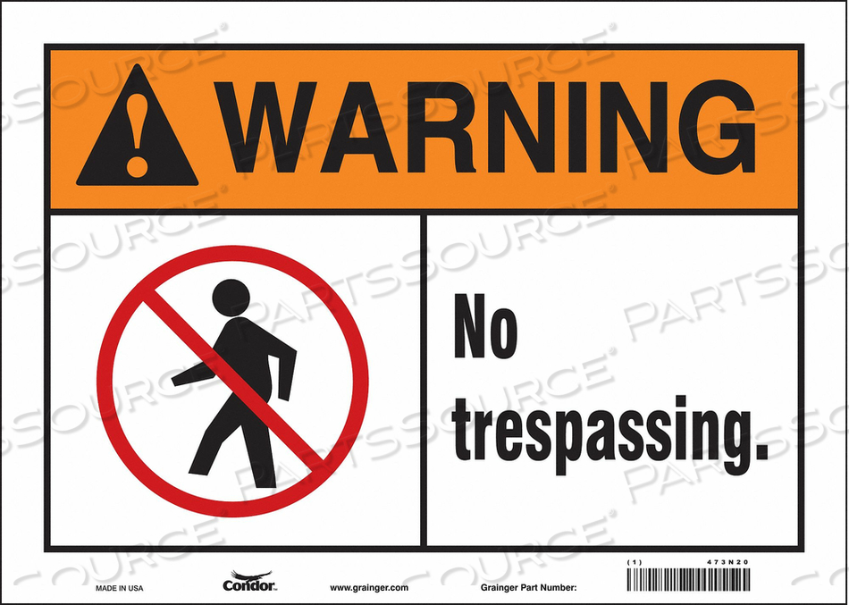 SAFETY SIGN 14 W 10 H 0.004 THICKNESS by Condor