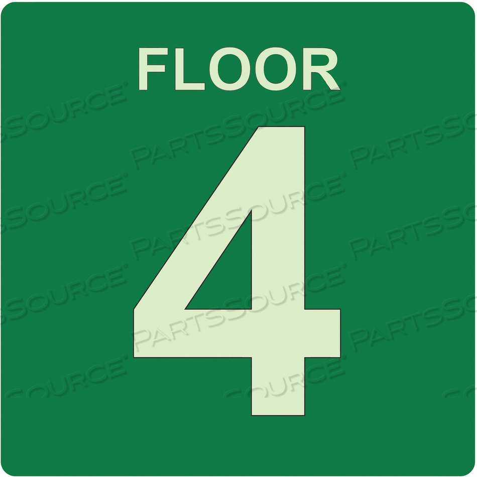 SIGN FLOOR 4 GREEN ENGLISH PVC by Ability One