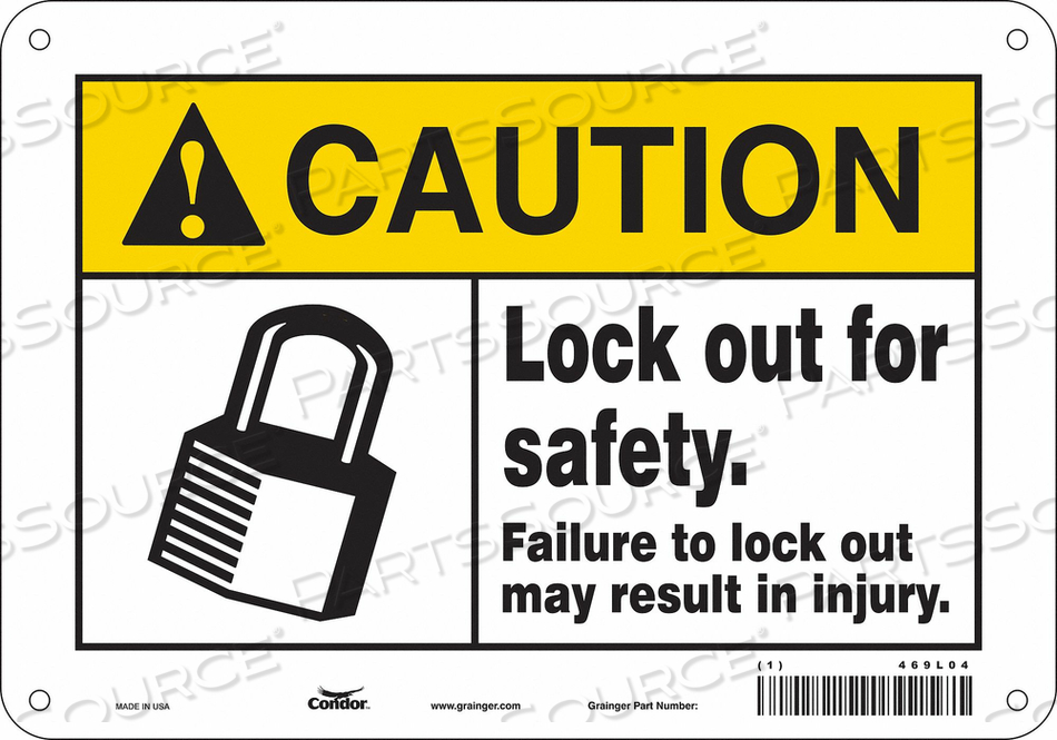 SAFETY SIGN 10 W 7 H 0.060 THICKNESS by Condor