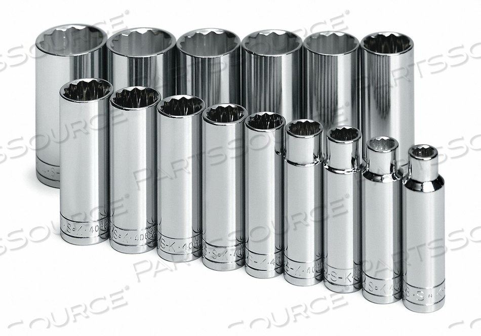 SOCKET SET SAE 1/2 IN DR 15 PC by SK Professional Tools