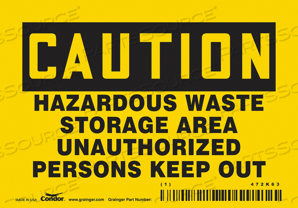 K1887 SAFETY SIGN 5 W 3 H 0.004 THICKNESS by Condor