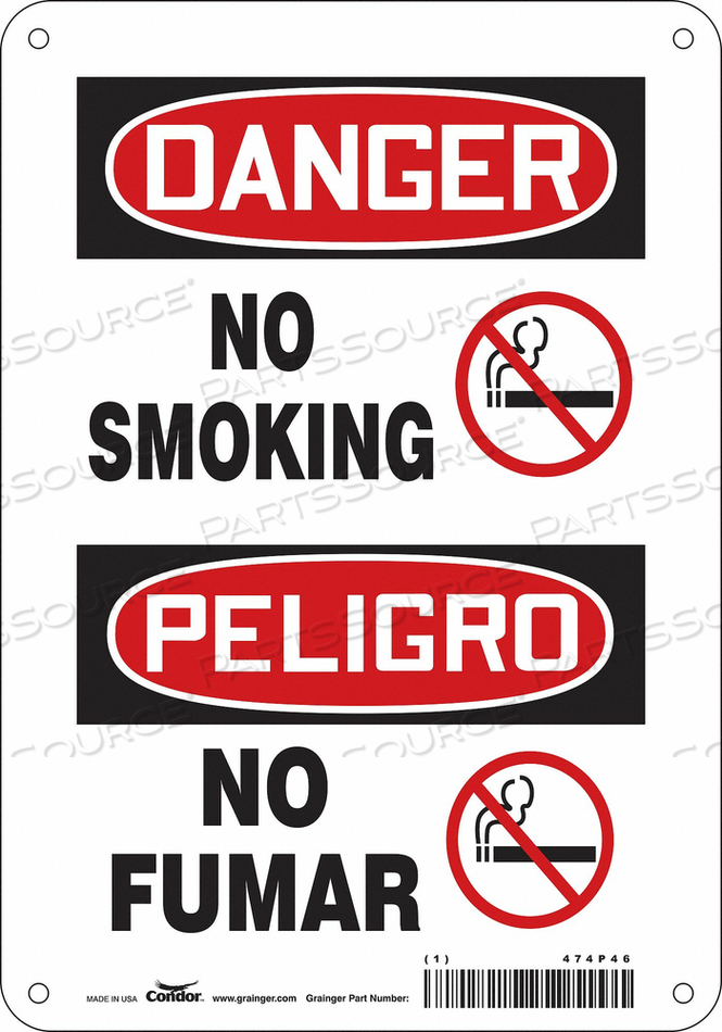 J6938 SAFETY SIGN 7 W 10 H 0.004 THICKNESS by Condor