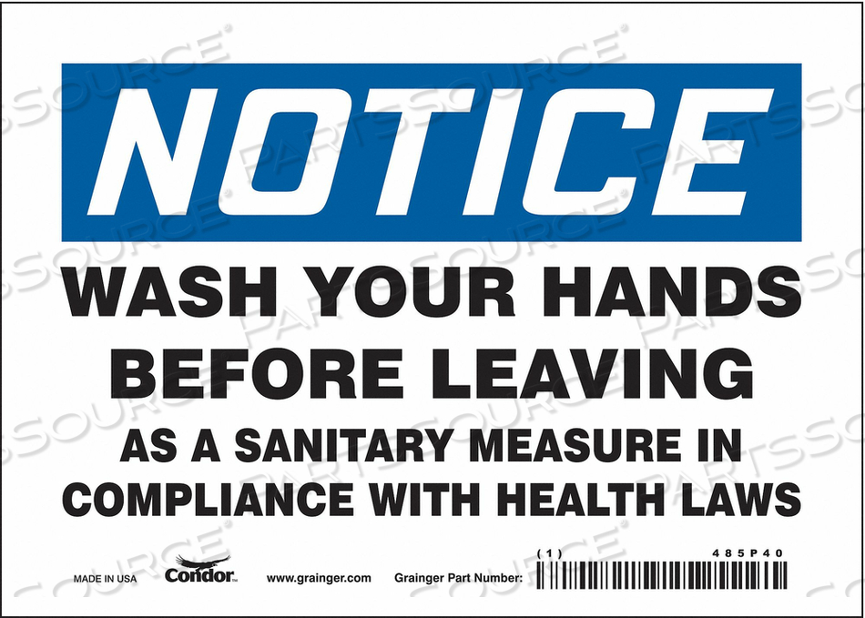 SAFETY SIGN 7 WX5 H 0.004 THICK by Condor