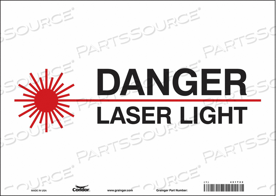 J7008 LASER WARNING 14 W 10 H 0.004 THICK by Condor