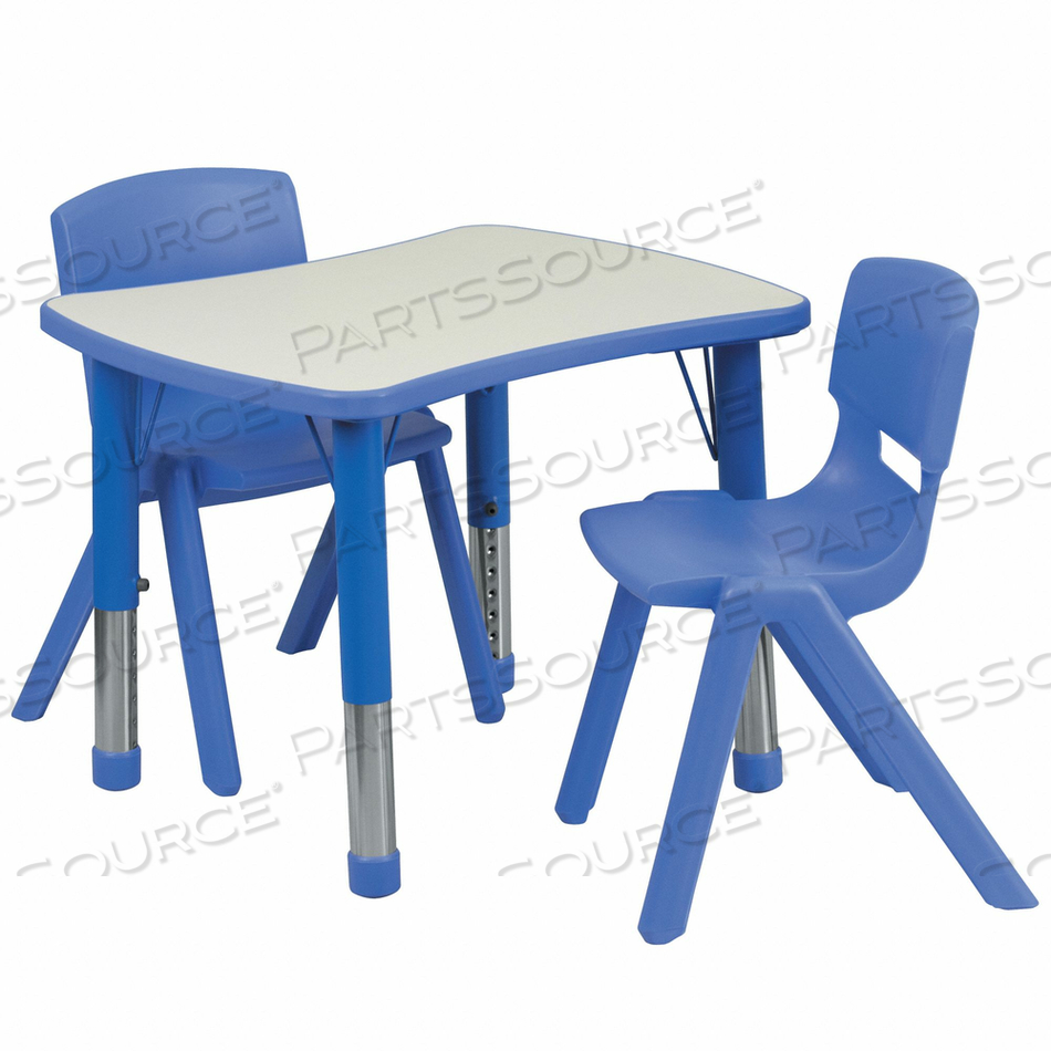 ACTIVITY TABLE W/2 CHAIRS BLU 21 X26 by Flash Furniture