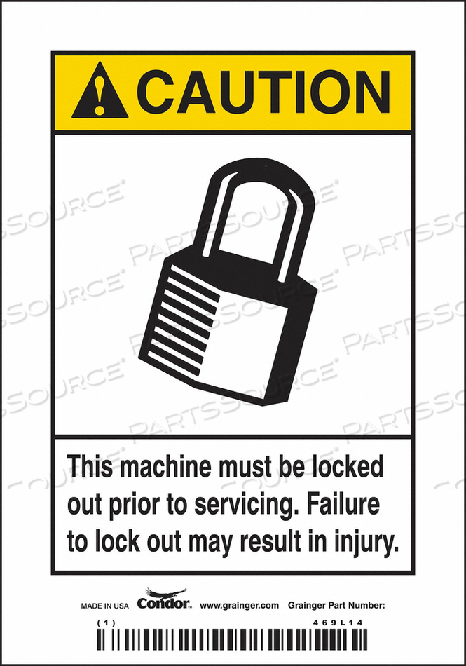 SAFETY SIGN 3-1/2 W 5 H 0.004 THICK by Condor