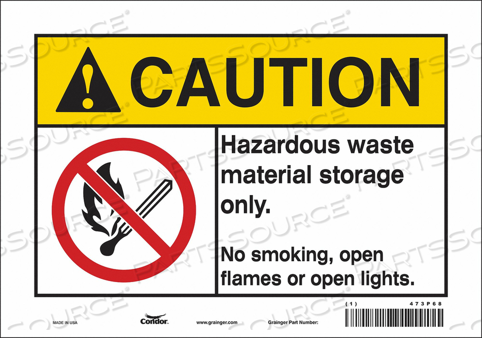 NO SMOKING SIGN 10 WX7 H 0.004 THICK by Condor