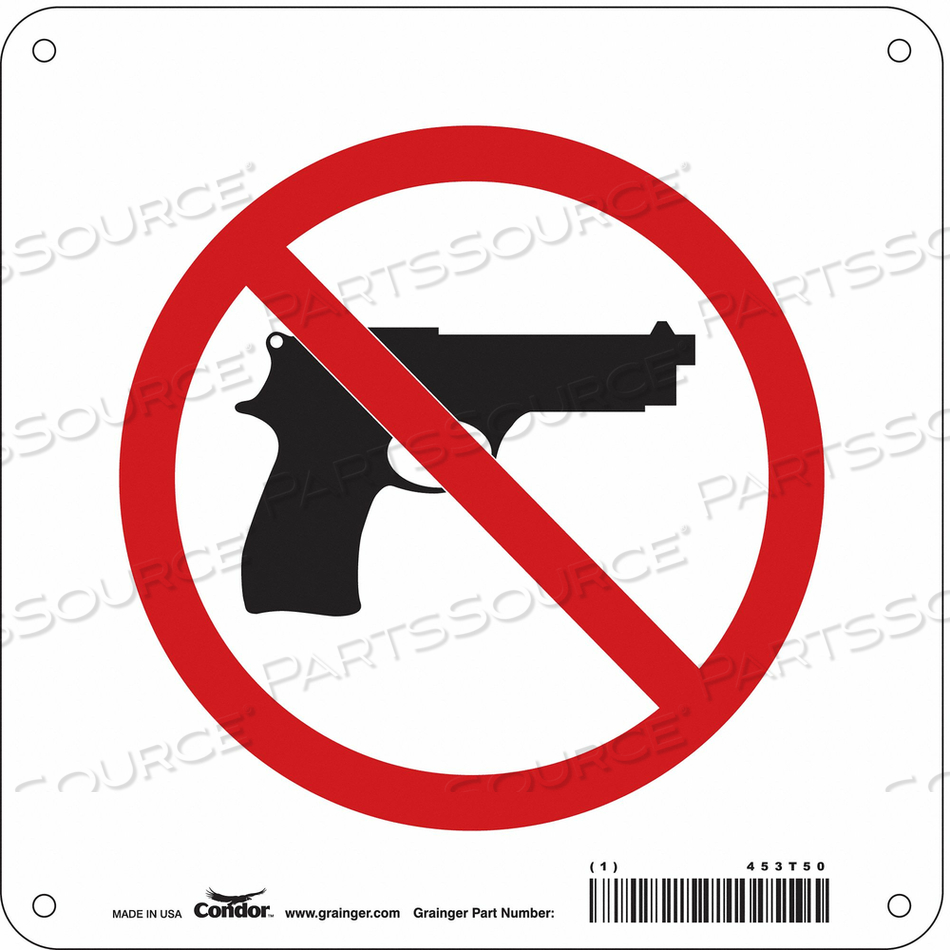 NO CONCEALED WEAPONS SIGN 8 W 8 H by Condor