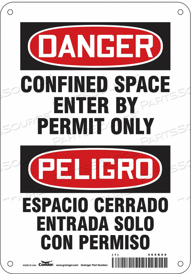 J6917 SAFETY SIGN 10 H 7 W ALUMINUM by Condor