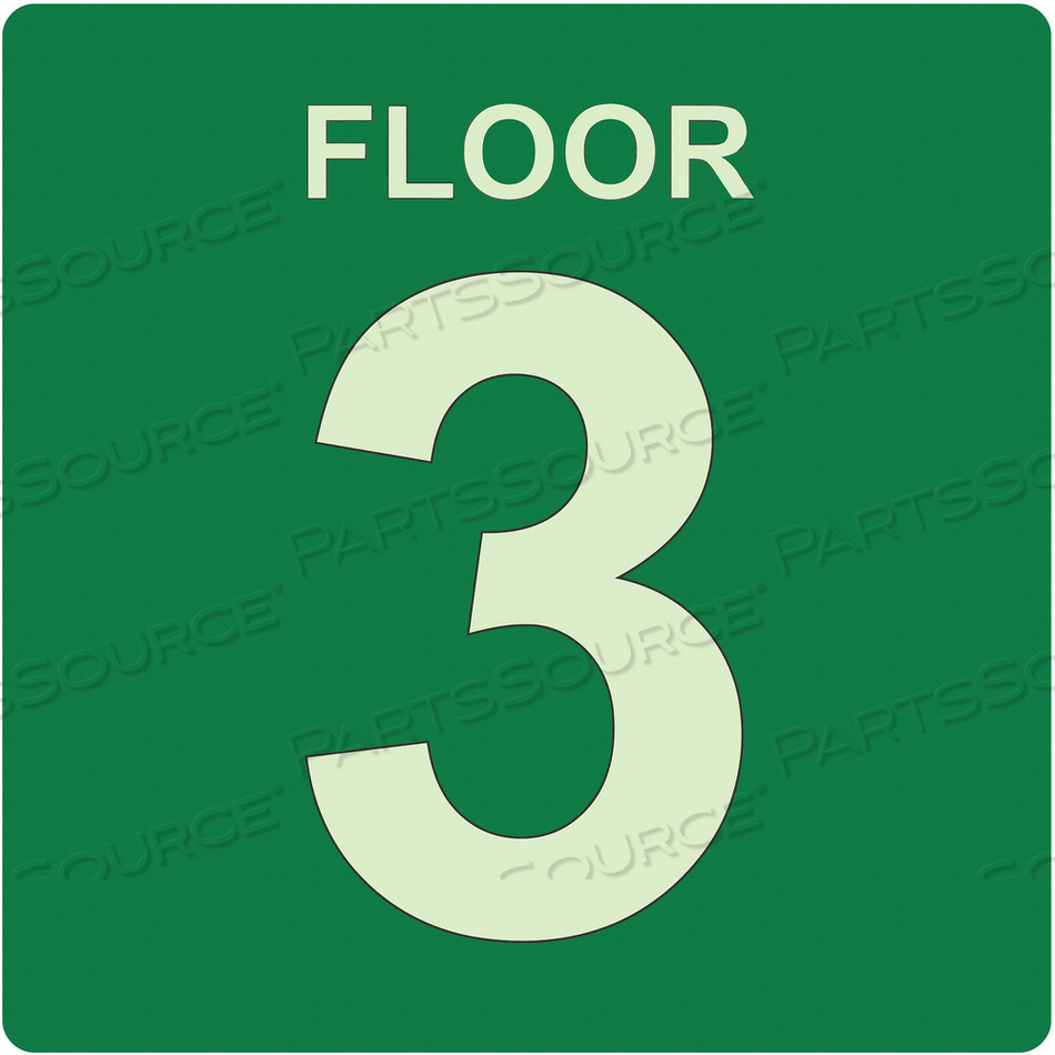 SIGN FLOOR 3 GREEN ENGLISH PVC by Ability One