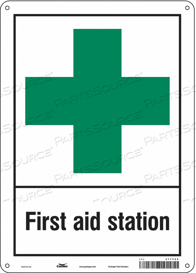 FIRST AID SIGN 10 WX14 H 0.055 THICK by Condor