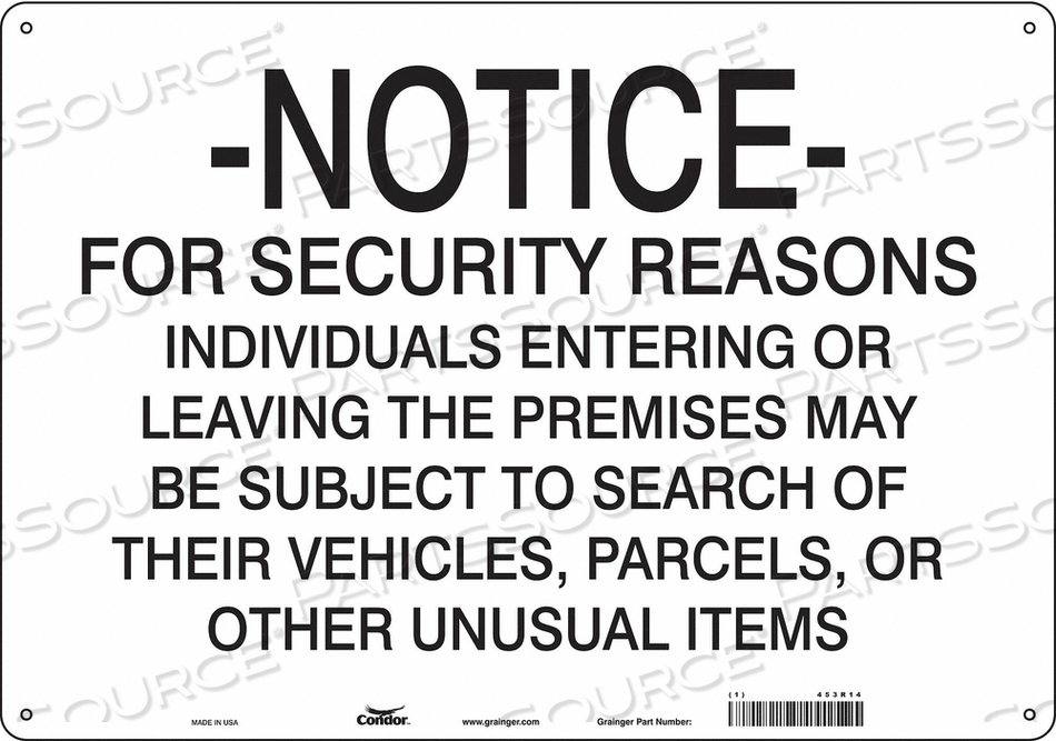 SECURITY SIGN 14 H 20 W ALUMINUM by Condor