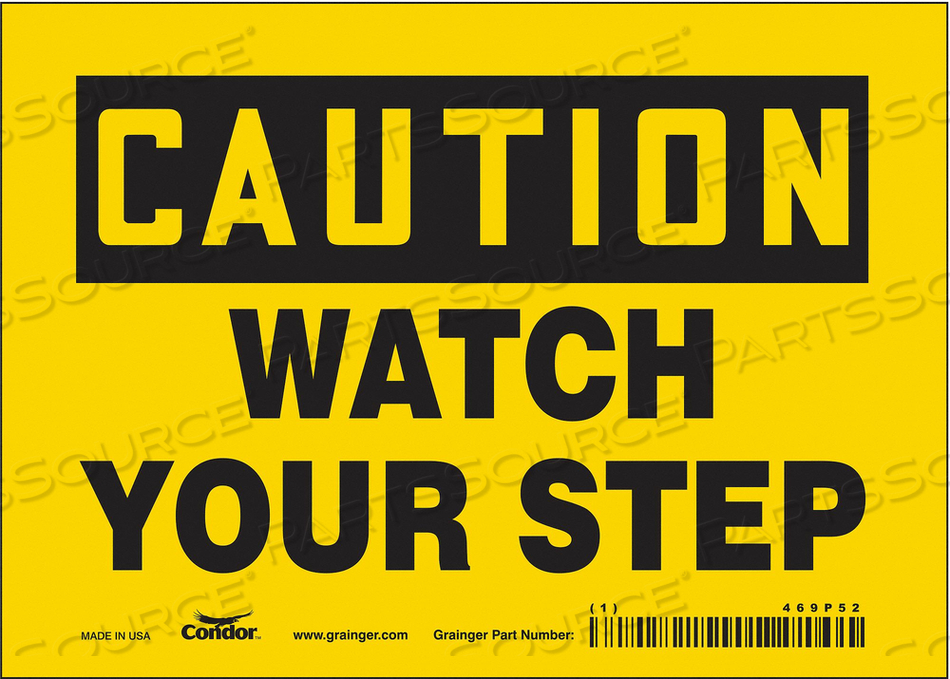 J6974 SAFETY SIGN 7 W 5 H 0.004 THICKNESS by Condor