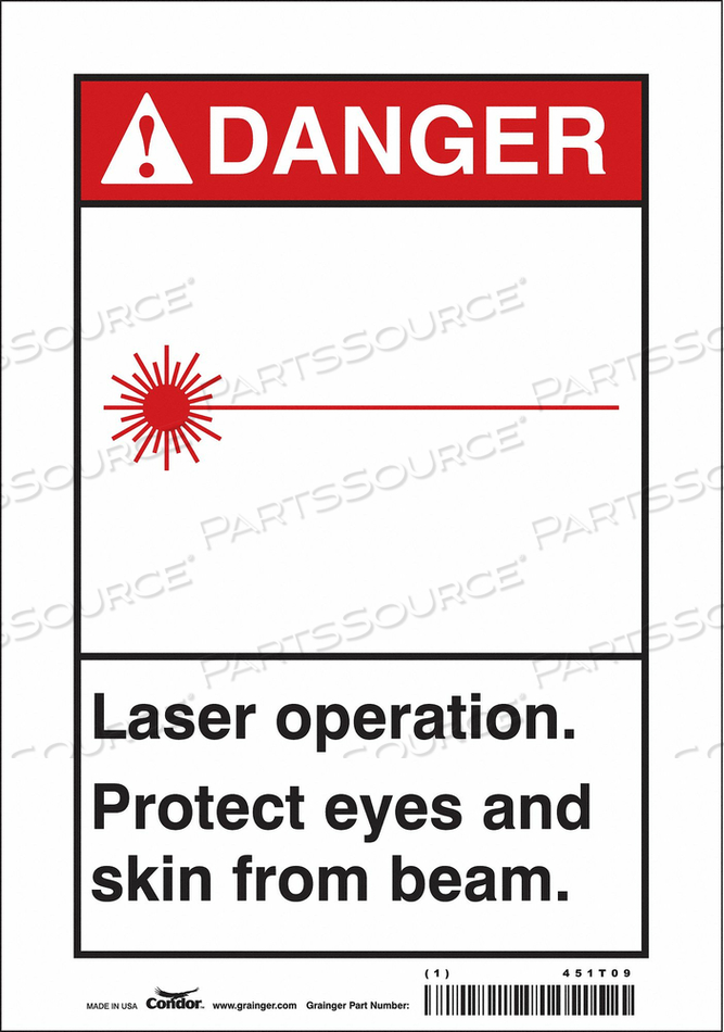 LASER WARNING 7 W 10 H 0.004 THICK by Condor